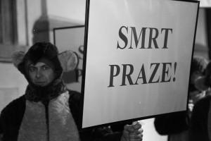 Z demonstrace proti bourání v památkové zóne UNESCO